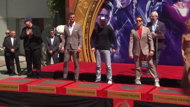 The actors in The Avengers superhero films and the President of Marvel Studios Kevin Feige leave their handprints in cement outside Hollywood's TCL...