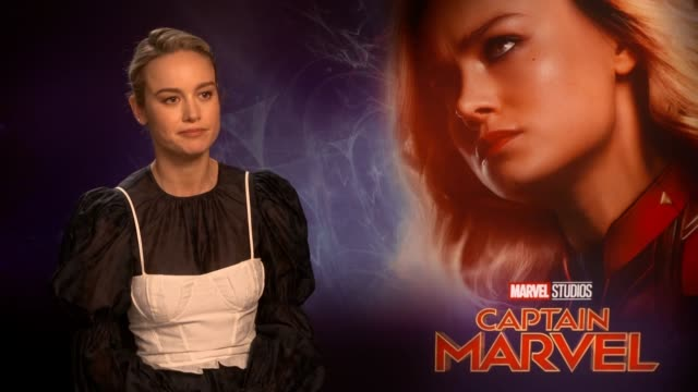 vidéos et rushes de the actress brie larson talks about the upcoming film captain marvel, the american superhero film based on the marvel comics. - actrice