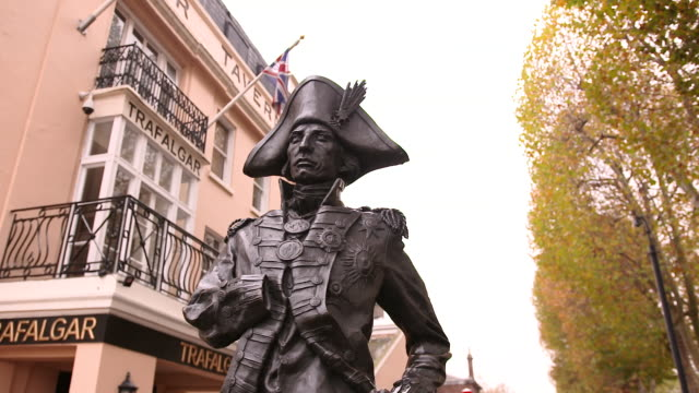 the admiral lord nelson statue by the trafalgar tavern pub in greenwich, london - admiral nelson stock videos and b-roll footage