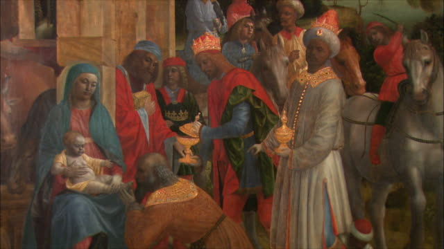 ms the adoration of the kings by vincenzo foppa, oil on poplar, circa 1500 / the national gallery, london, united kingdom - art stock videos & royalty-free footage