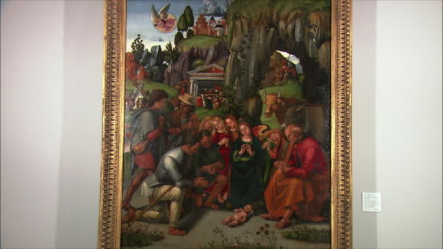 ms the adoration of the shepherds by luca signorelli, oil on wood, 1496 / the national gallery, london, united kingdom - art stock videos & royalty-free footage