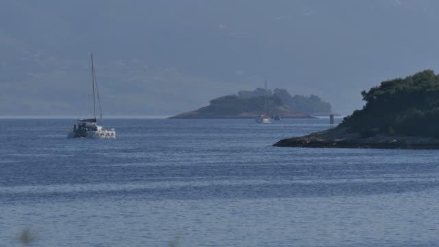 the adriatic sea from korcula town, korcula island, dalmatia, croatia, europe - adriatic sea stock videos & royalty-free footage