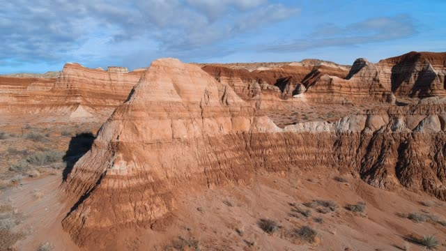 the aerial drone scenic view of the clay dry canyon near kanab, utah - canyon stock videos & royalty-free footage