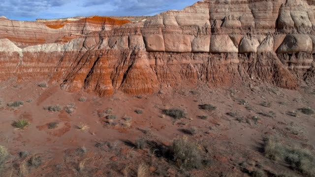 the aerial drone scenic view of the clay dry canyon near kanab, utah - sedimentary rock stock videos & royalty-free footage