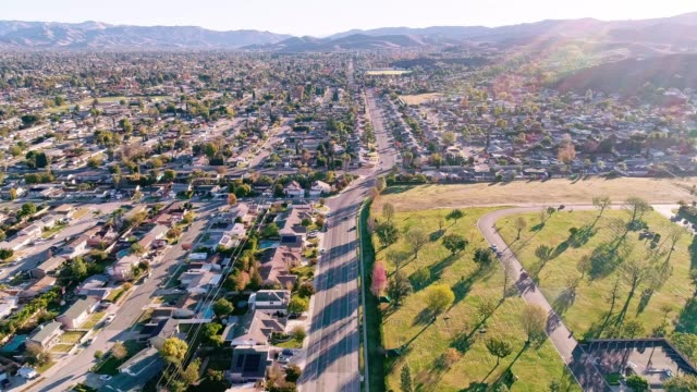 the aerial drone video of simi valley, california, los angeles agglomeration - south stock videos & royalty-free footage