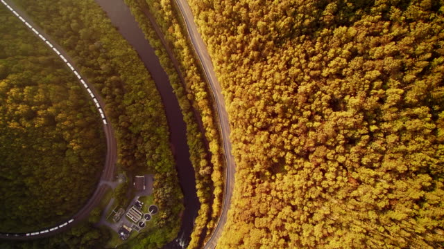 The aerial drone view of the Appalachian Mountains near by Jim Thorpe (Mauch Chunk) and Lehigh River in Carbon County, Poconos region, Pennsylvania, USA