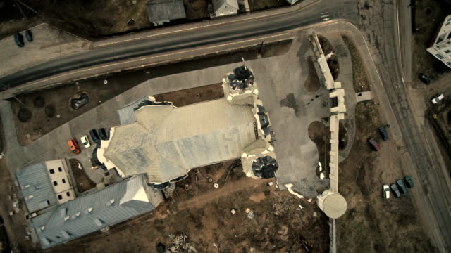 The aerial drone view of the Catholic cathedral of the Saint Michael Archangel, XVIII-XIX centuries, in the Ivyanets city, Belarus, Eastern Europe.