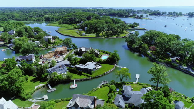 the aerial drone view of the marina in larchmont, westchester county, ny, usa - bay of water stock videos & royalty-free footage