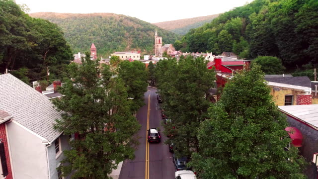 the aerial panoramic scenic view of the small mountain city jim thorpe (mauch chunk)  in poconos, pennsylvania - pennsylvania stock videos & royalty-free footage