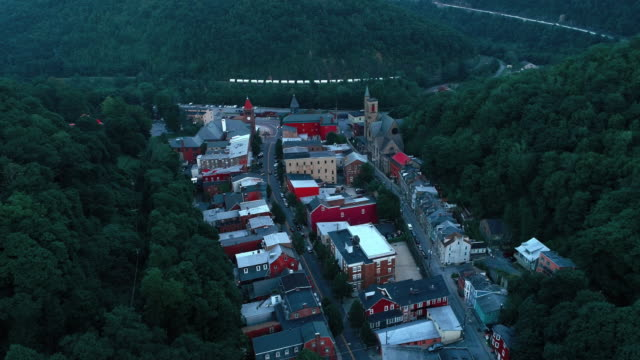 The aerial panoramic scenic view of the small mountain city Jim Thorpe (Mauch Chunk)  in Poconos, Pennsylvania