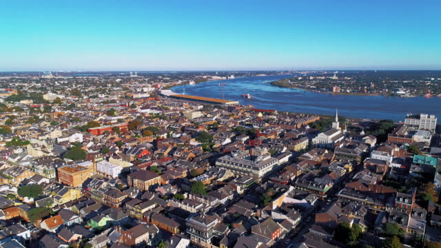 the aerial panoramic view of new orleans at evening. the mississippi river and the historic french quarter.  aerial drone video with the tilting-down camera motion. - cross section stock videos & royalty-free footage