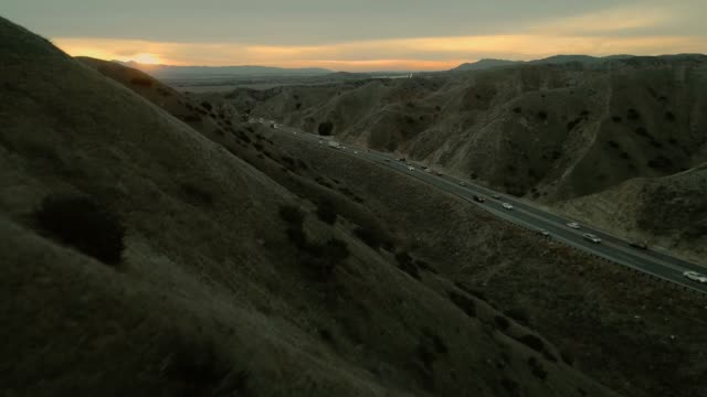 The aerial panoramic view of the Moreno Valley at the sunset
