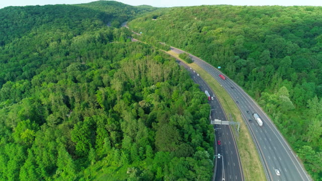 the aerial scenic view of the  christopher columbus highway in new jersey, near by delaware water gap. - lush stock videos & royalty-free footage