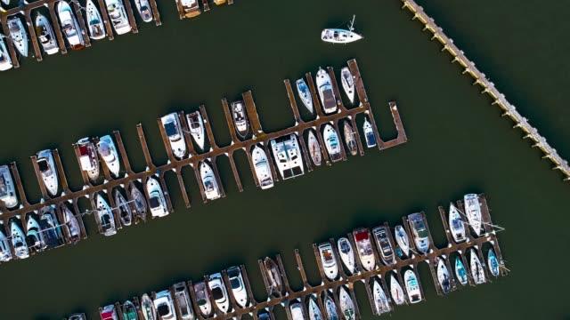vídeos y material grabado en eventos de stock de la parte superior aérea directamente sobre la vista de yates y botes en el puerto deportivo de san francisco, california - puerto deportivo puerto
