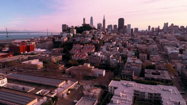 the aerial view of san francisco downtown at sunset, over the residential district - north beach san francisco stock videos & royalty-free footage