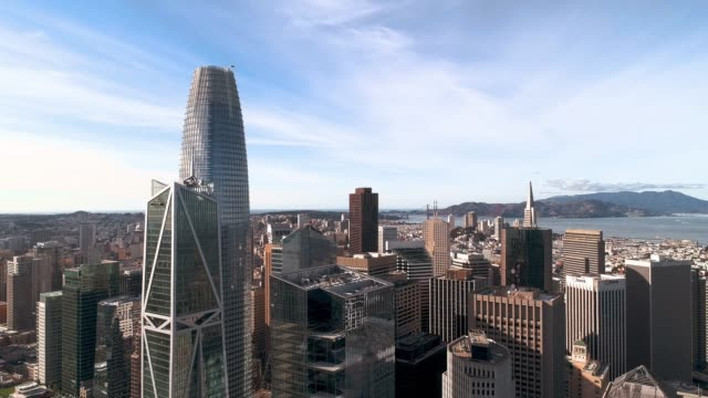 the aerial view of san francisco downtown, california - san francisco california stock videos & royalty-free footage