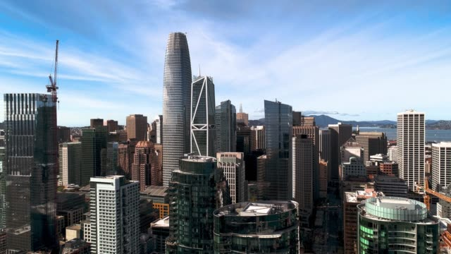 the aerial view of san francisco downtown, california - cityscape stock videos & royalty-free footage