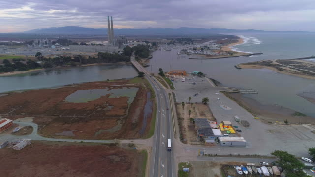 the aerial view of the refinery at the usa west coast, california - monterey county stock videos and b-roll footage