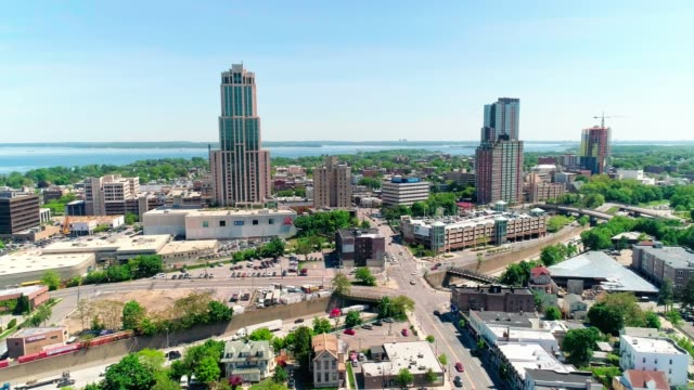 the aerial view of the skyscrapers in the downtown of new rochelle, westchester county, new york state - piccola cittadina video stock e b–roll