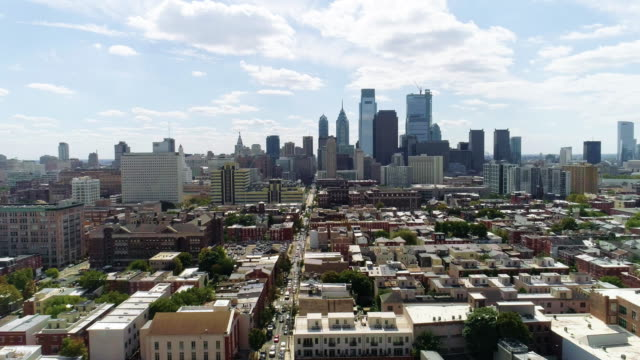 the aerial view on philadelphia downtown over the residential district of the city - philadelphia pennsylvania stock videos & royalty-free footage