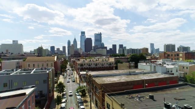 the aerial view on philadelphia downtown over the residential district of the city - penthouse stock videos and b-roll footage
