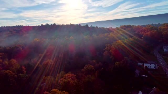 the aerial view on the fog over the mountain's forest in appalachian, poconos, pennsylvania, at early morning during the fall foliage season. shooting against the sun, with lens flare and sunbeamsaerial drone video. - oblivious stock videos & royalty-free footage