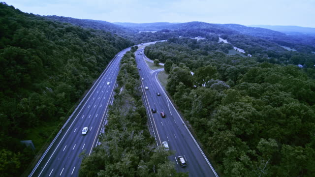 the aerial view to the christopher columbus highway, us-80, new jersey, usa - appalachia stock videos & royalty-free footage