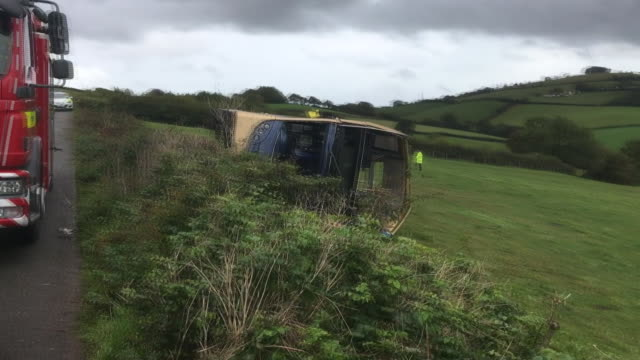 the aftermath of a bus crash in devon - double decker bus stock videos & royalty-free footage