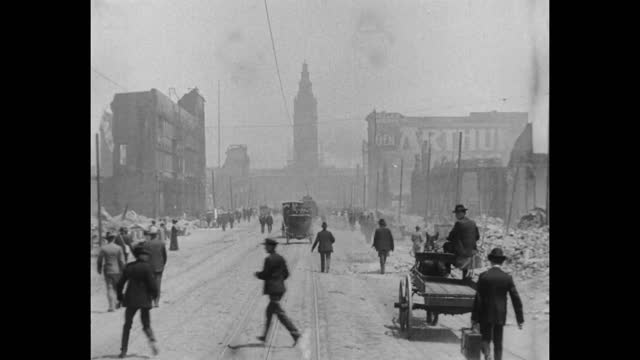 the aftermath of the 1906 san francisco earthquake revisiting a trip down market street filmed by the miles brothers soon after the earthquake that... - 1906 stock-videos und b-roll-filmmaterial