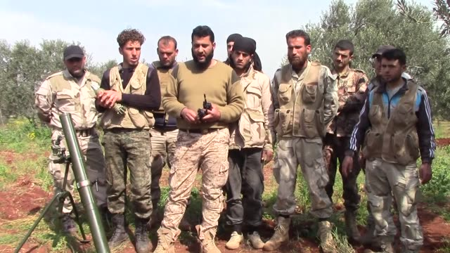 The Ahrar alSham movement the Nusra Front and Soqour alJabal brigades led opposition shelling on regime positions in Idlib city in northern Syria on...