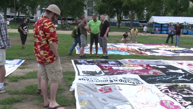 The AIDS Memorial Quilt is on display throughout Washington this week with 48000 panels honoring 94000 people who have lost their lives to the virus...