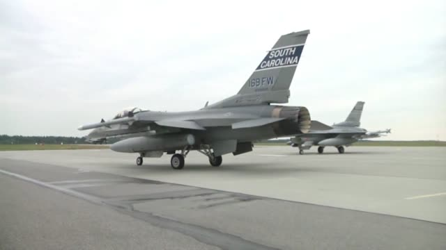the air force along with its polish counterparts officially kicked off nato exercise ramstein guard with the first f16 flights from the south... - operation atlantic resolve stock videos & royalty-free footage
