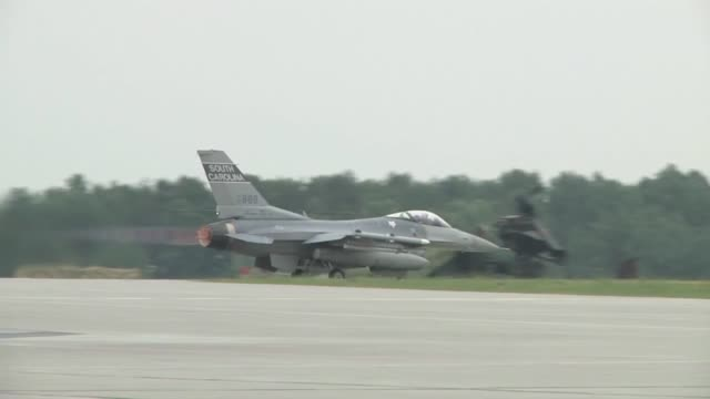 the air force, along with its polish counterparts, officially kicked off nato exercise ramstein guard with the first f-16 flights from the south... - train guard stock videos & royalty-free footage