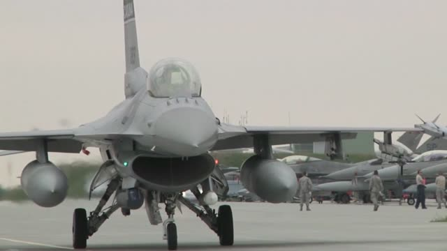 the air force, along with its polish counterparts, officially kicked off nato exercise ramstein guard with the first f-16 flights from the south... - operation atlantic resolve stock videos & royalty-free footage