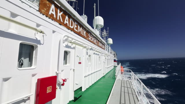 the akademik sergey vavilov, an ice strengthened ship on an expedition cruise to antarctica crossing the drake passage in the southern ocean. - drake passage stock videos and b-roll footage