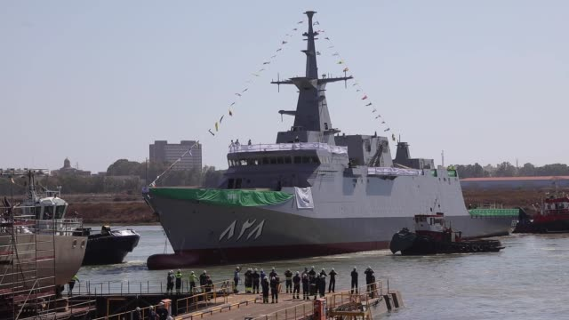 the al jubail ship is launched during a ceremony at spanish state-owned shipbuilder navantia sa's shipyard, the first of five warships being supplied... - military ship stock videos & royalty-free footage