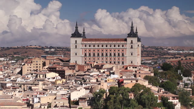 the alcazar and city of toledo, spain. - fortress stock videos and b-roll footage