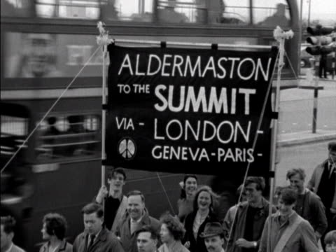 the aldermaston cnd marchers move along the great west road - aldermaston stock videos & royalty-free footage
