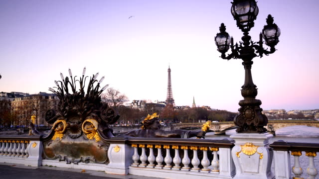 Brücke Alexander III über Fluss Seine in Paris, Frankreich