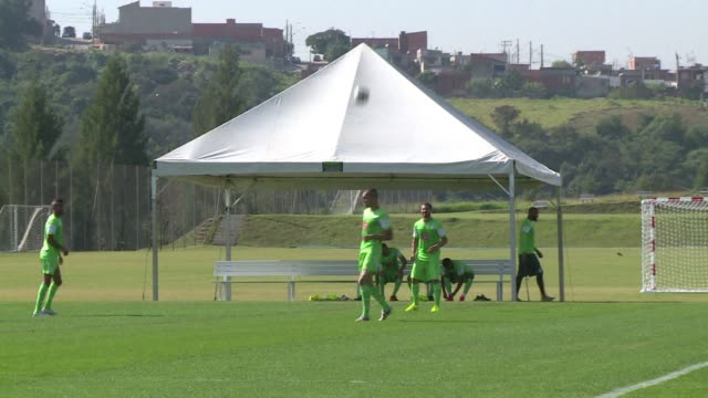 the algeria team trained in sorocaba in preparation for their final match in group h against russia - sportweltmeisterschaft stock-videos und b-roll-filmmaterial