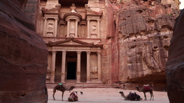 the al-khazneh tomb in the city of petra with camels. - 遺跡点の映像素材/bロール