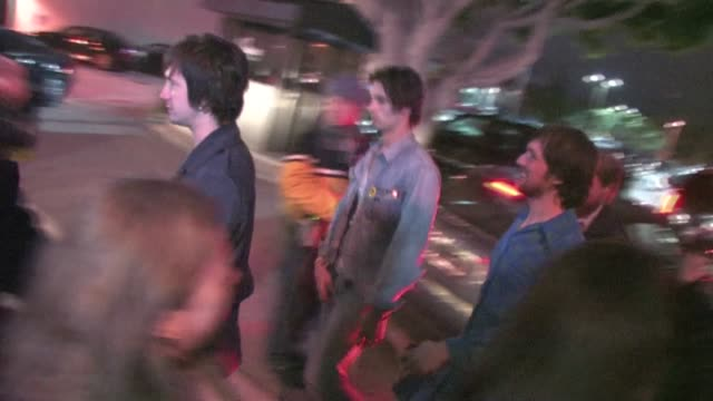 the all american rejects tyson ritter, mike kennerty, nick wheeler and chris gaylor arrive at perez hilton's blue ball birthday in hollywood - the all american rejects stock videos & royalty-free footage