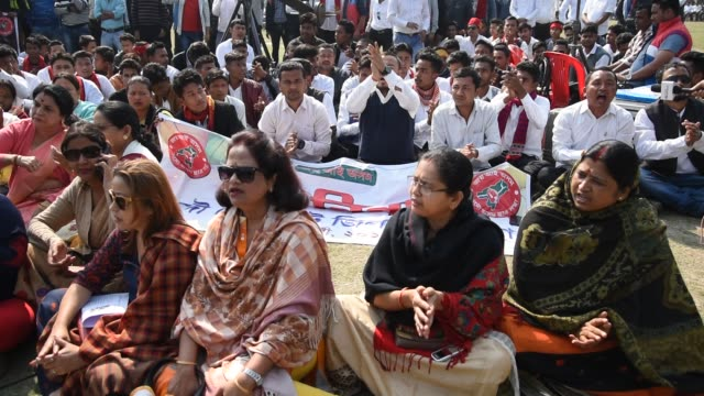 The All Assam Students' Union organises a mass agitation 'Bajra Ninad' in protest against the much debated Citizenship Bill 2016 at the Latasil...