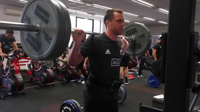 the all blacks train during a gym session at the lensbury hotel on november 5, 2018 in london, england. - weight training stock videos & royalty-free footage