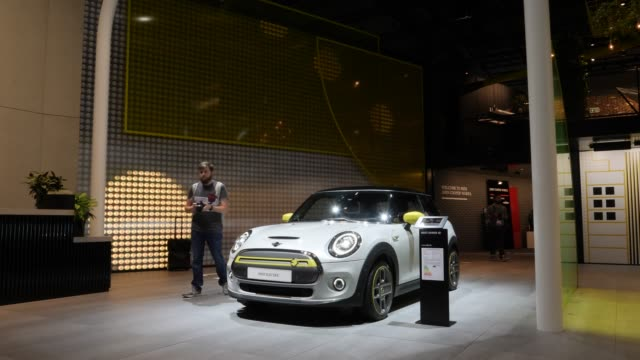 the all-electric mini electric stands on display at the 2019 iaa frankfurt auto show on september 11, 2019 in frankfurt am main, germany. the iaa... - exhibition stock videos & royalty-free footage