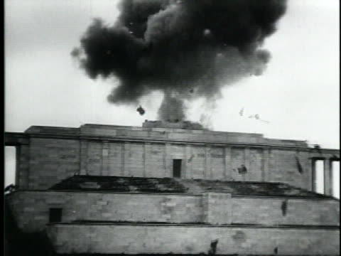 the allied forces blow up the swastika at nuremberg stadium. - nazi swastika stock videos & royalty-free footage