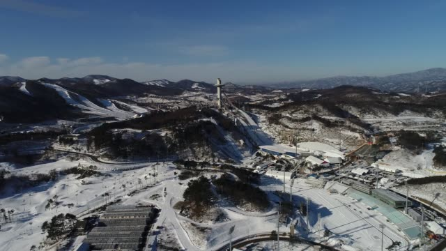 the alpensia ski jumping stadium the venue for ski jumping events at the 2018 pyeongchang winter olympic games top and the alpensia crosscountry... - längd bildbanksvideor och videomaterial från bakom kulisserna