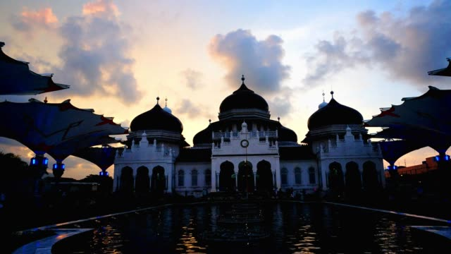 The amazing view of Baiturrahman Grand Mosque, Aceh, Indonesia. This mosque is one of mosque which survived in 2004 tsunami at Banda Aceh.