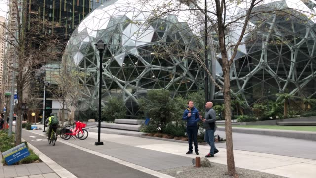 the amazon headquarters sits virtually empty on march 10, 2020 in downtown seattle, washington. in response to the coronavirus outbreak, amazon... - headquarters stock videos & royalty-free footage