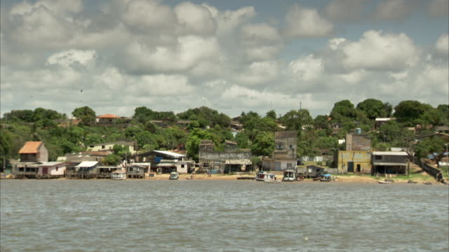 The Amazon River flows past a village. Available in HD.